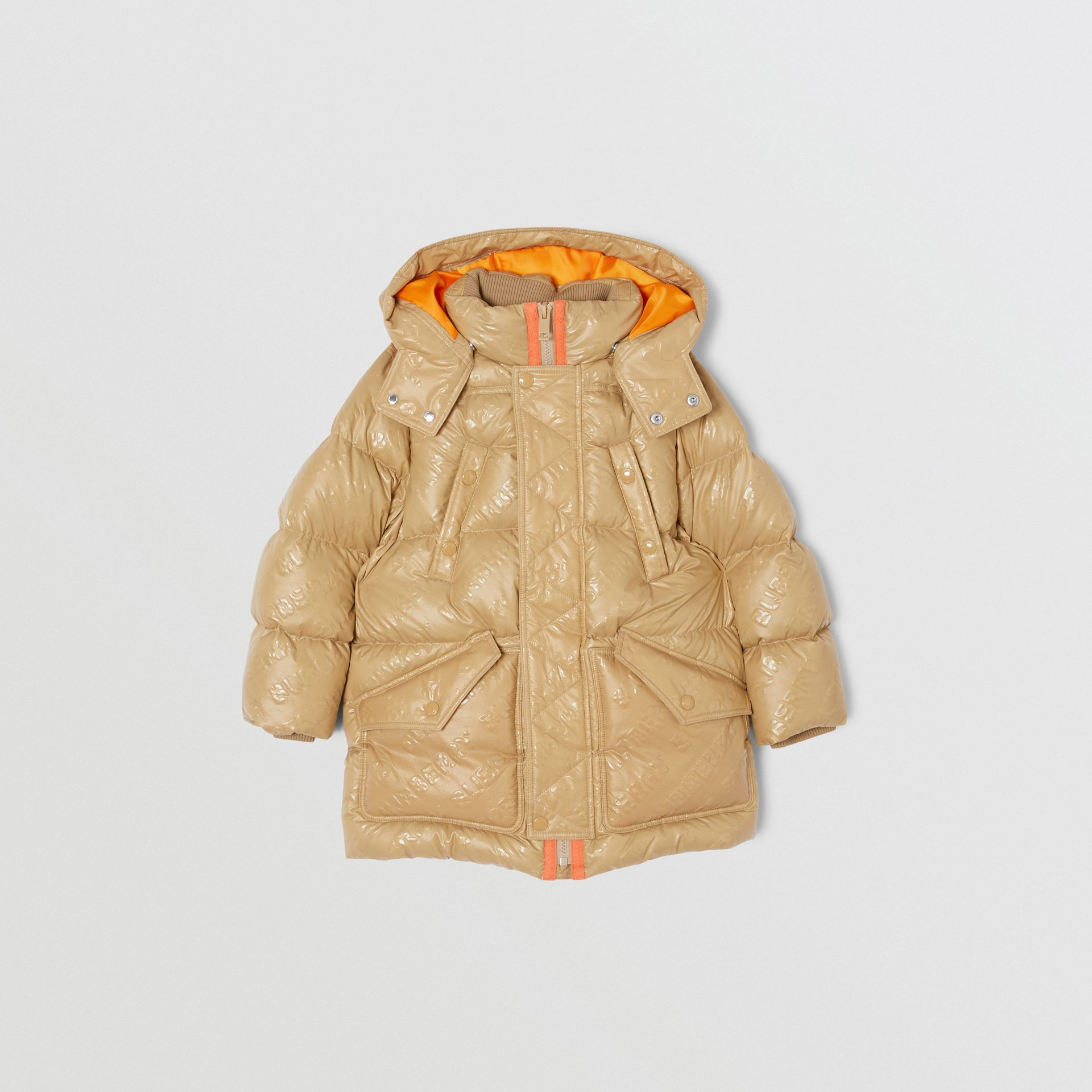 Detachable Hood Embossed Logo Puffer Coat in Honey | Burberry Hong Kong S.A.R - gallery image 0