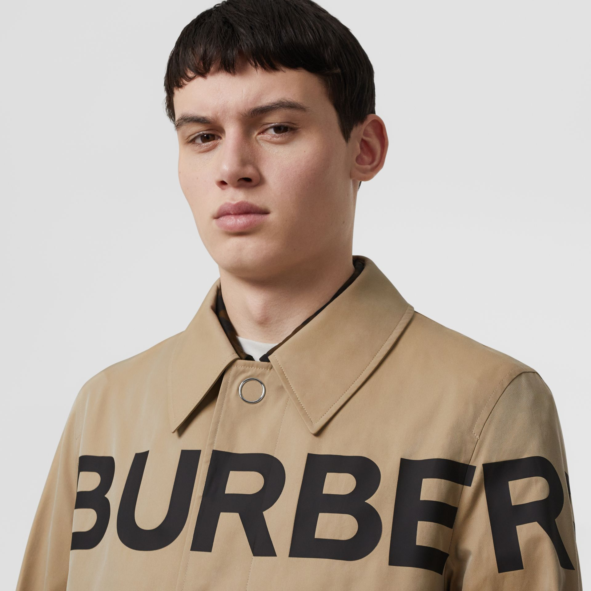 Horseferry Print Cotton Gabardine Car Coat in Honey - Men | Burberry United Kingdom - gallery image 6