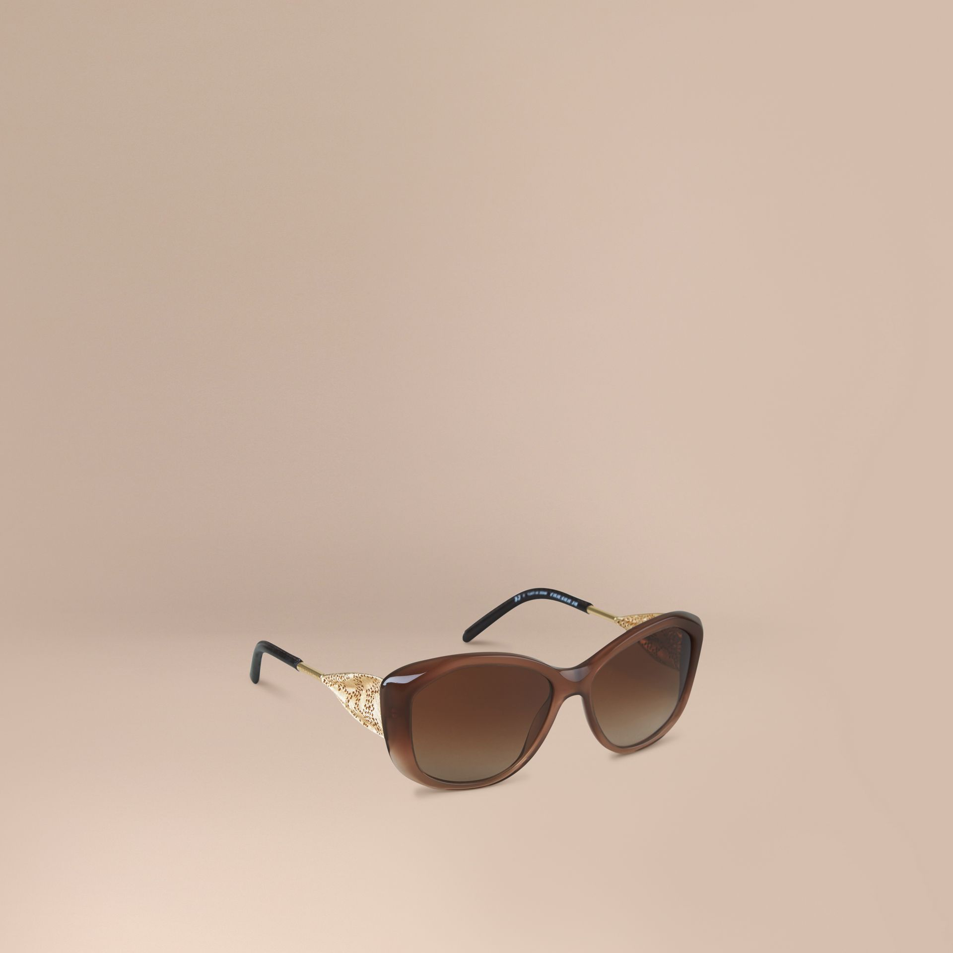 Dark amber Gabardine Collection Square Frame Sunglasses Dark Amber - gallery image 1
