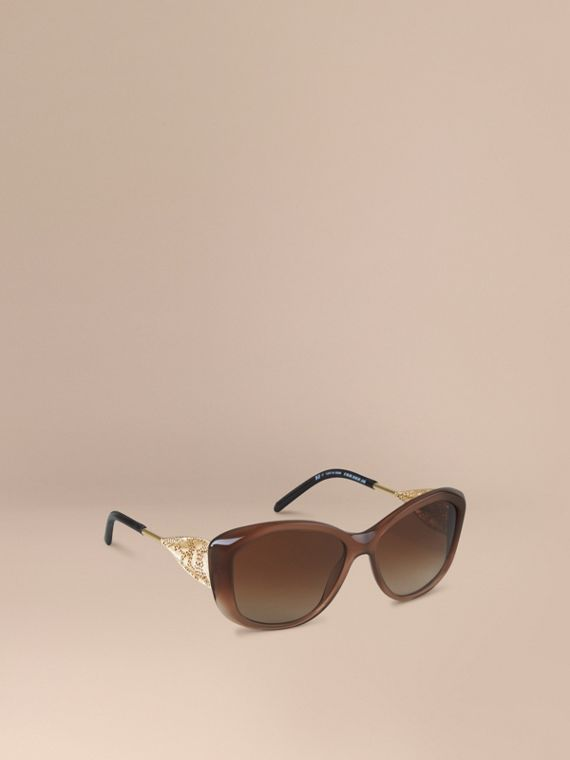 Gabardine Collection Square Frame Sunglasses Dark Amber