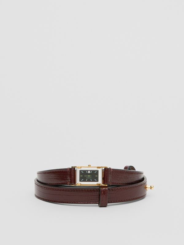 Faux Watch Detail Leather Belt in Tan - Women | Burberry - cell image 3
