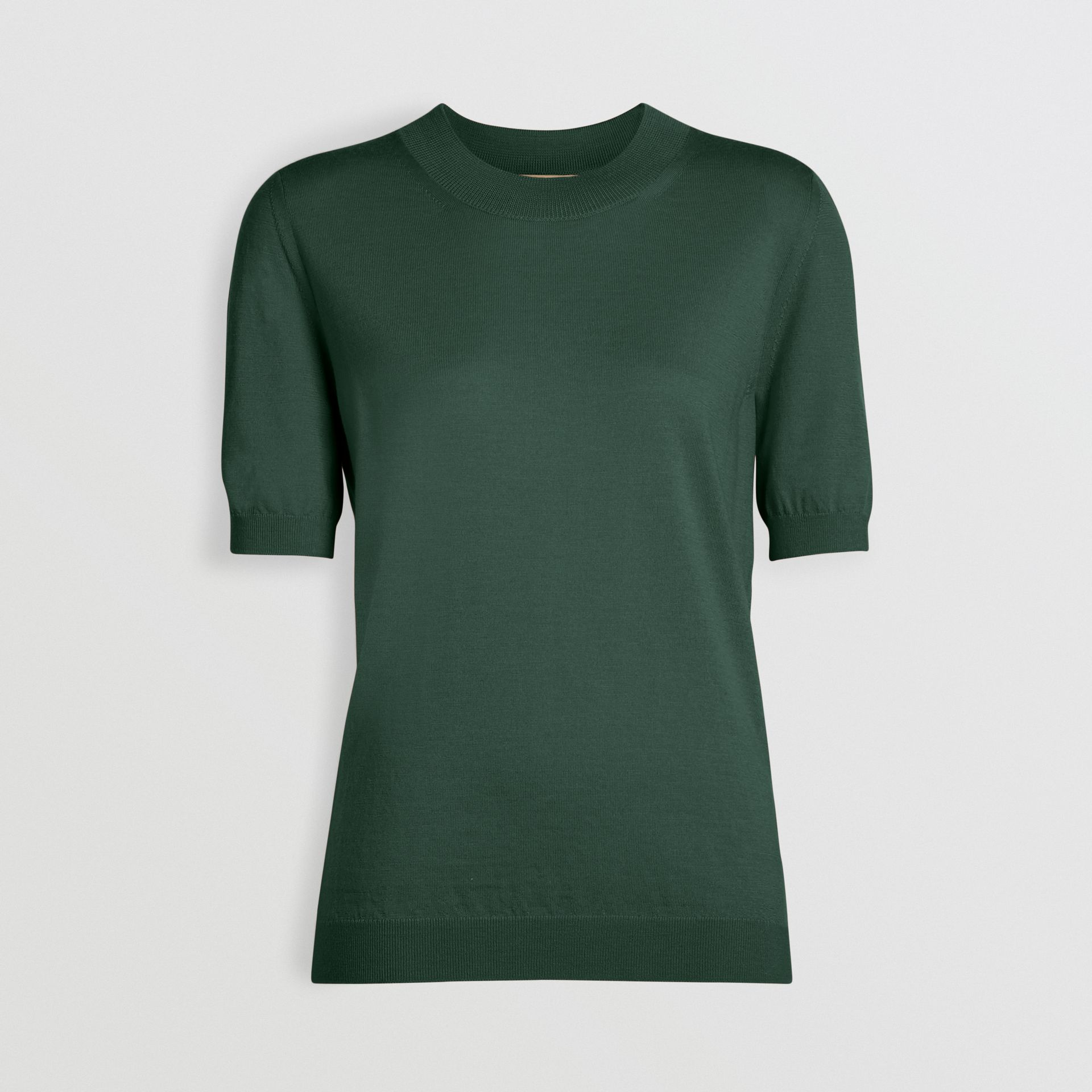 Crew Neck Merino Wool Sweater in Dark Forest Green - Women | Burberry - gallery image 3