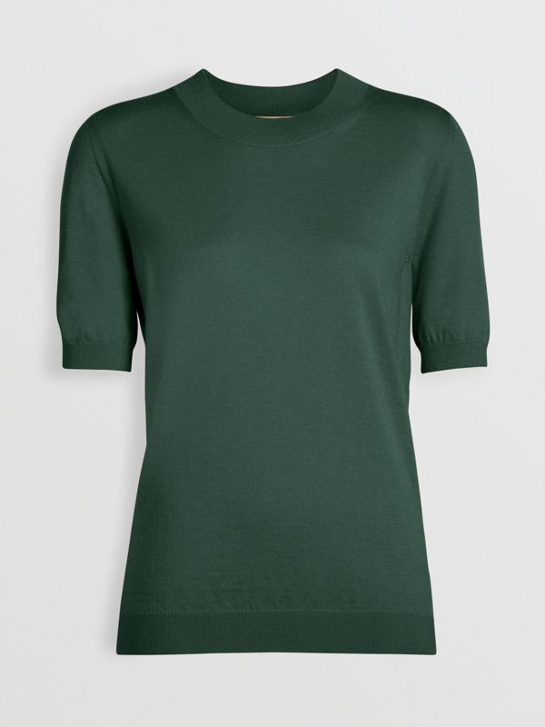 Crew Neck Merino Wool Sweater in Dark Forest Green - Women | Burberry - cell image 3