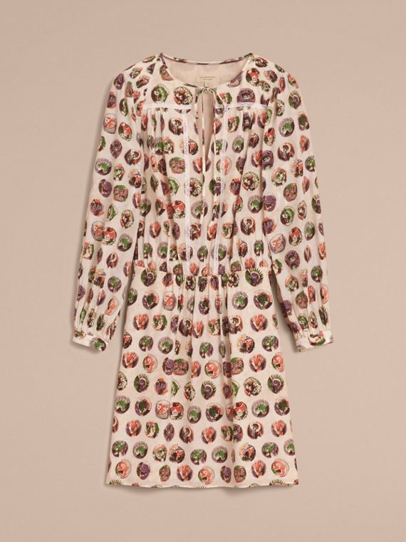 Pallas Heads Print Silk Dress with Neck Tie - cell image 3