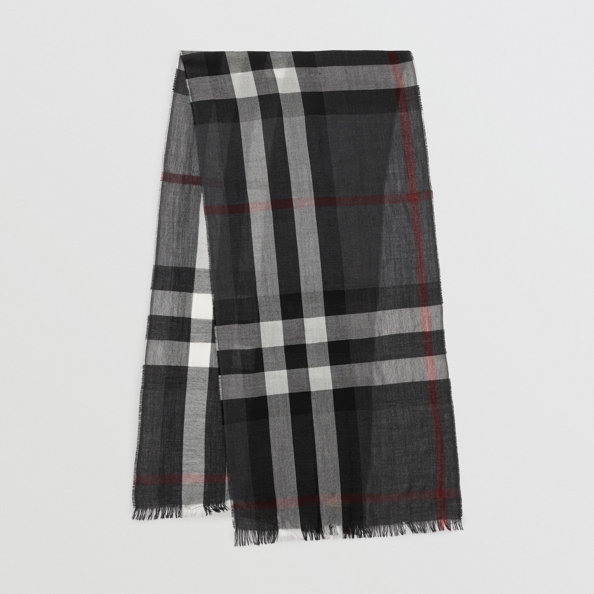 Lightweight Check Wool Cashmere Scarf in Charcoal | Burberry Australia - gallery image 0