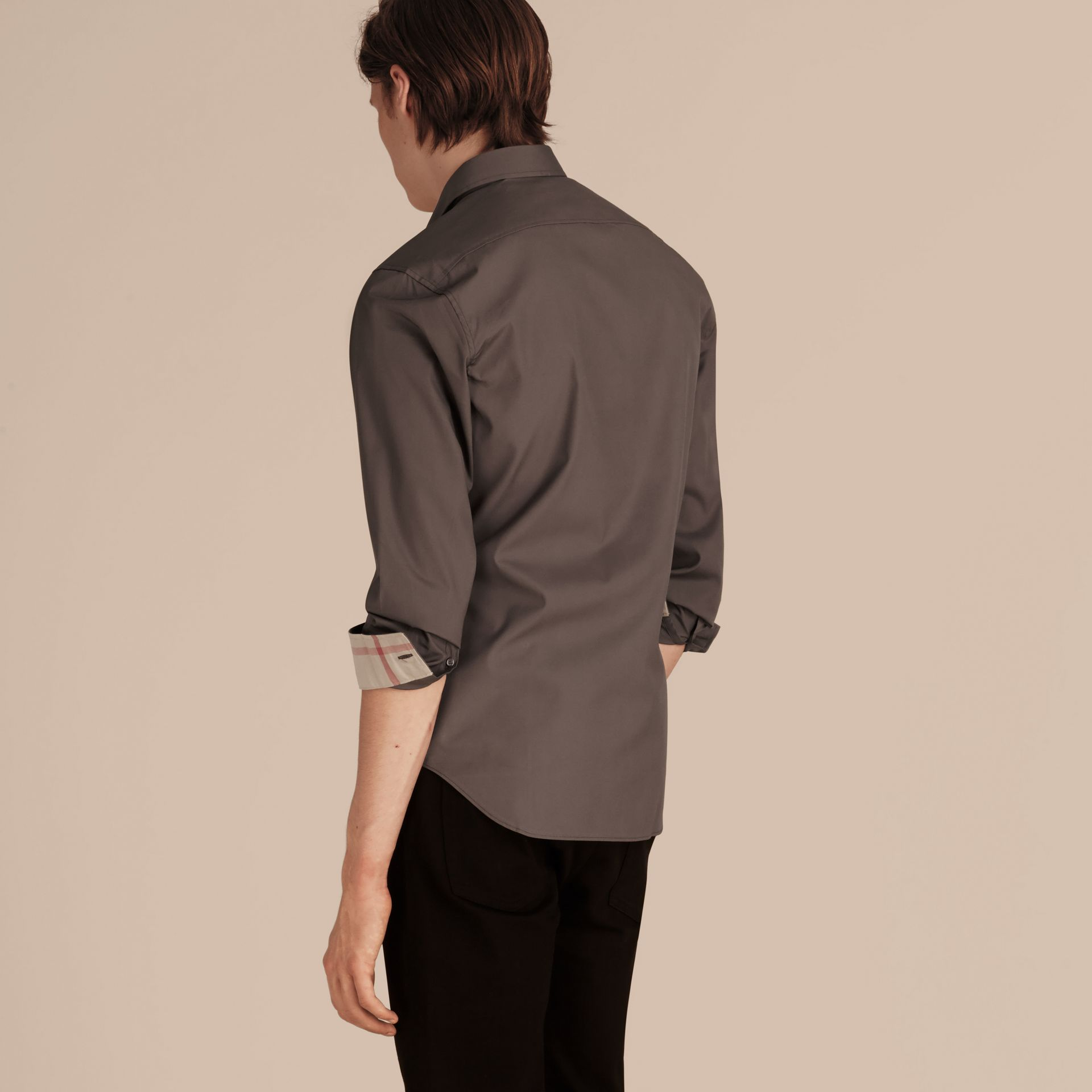 Check Detail Stretch Cotton Poplin Shirt Stone Grey - gallery image 3