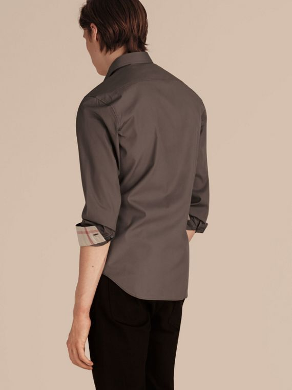 Check Detail Stretch Cotton Poplin Shirt Stone Grey - cell image 2