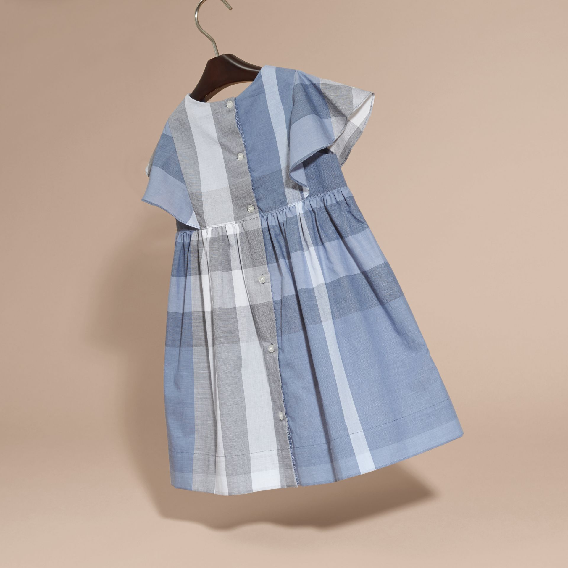 Ruffle Detail Check Cotton Dress in Canvas Blue - Girl | Burberry Australia - gallery image 4