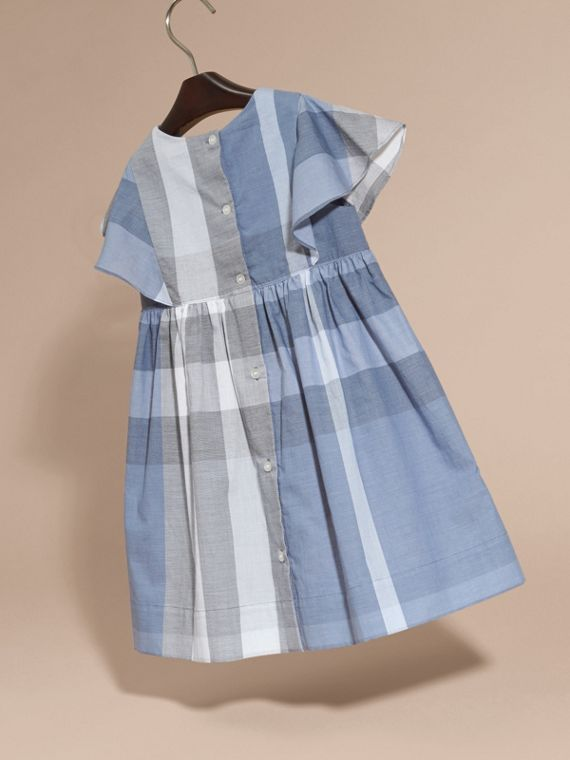 Ruffle Detail Check Cotton Dress in Canvas Blue - Girl | Burberry - cell image 3