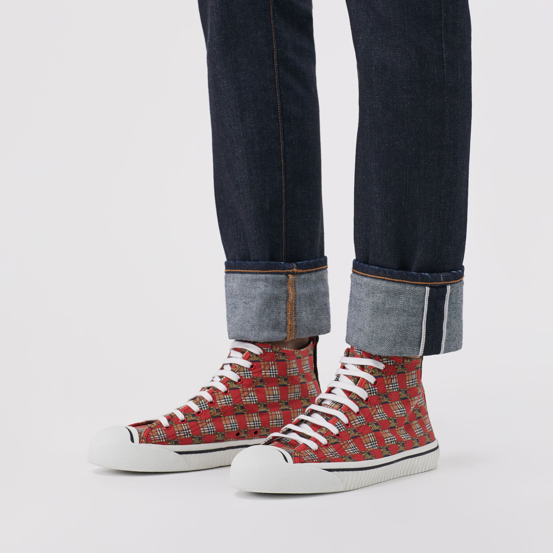 Tiled Archive Print Cotton High-top Sneakers in Bright Red | Burberry - gallery image 2