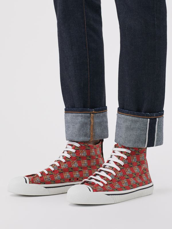 Tiled Archive Print Cotton High-top Sneakers in Bright Red | Burberry - cell image 2