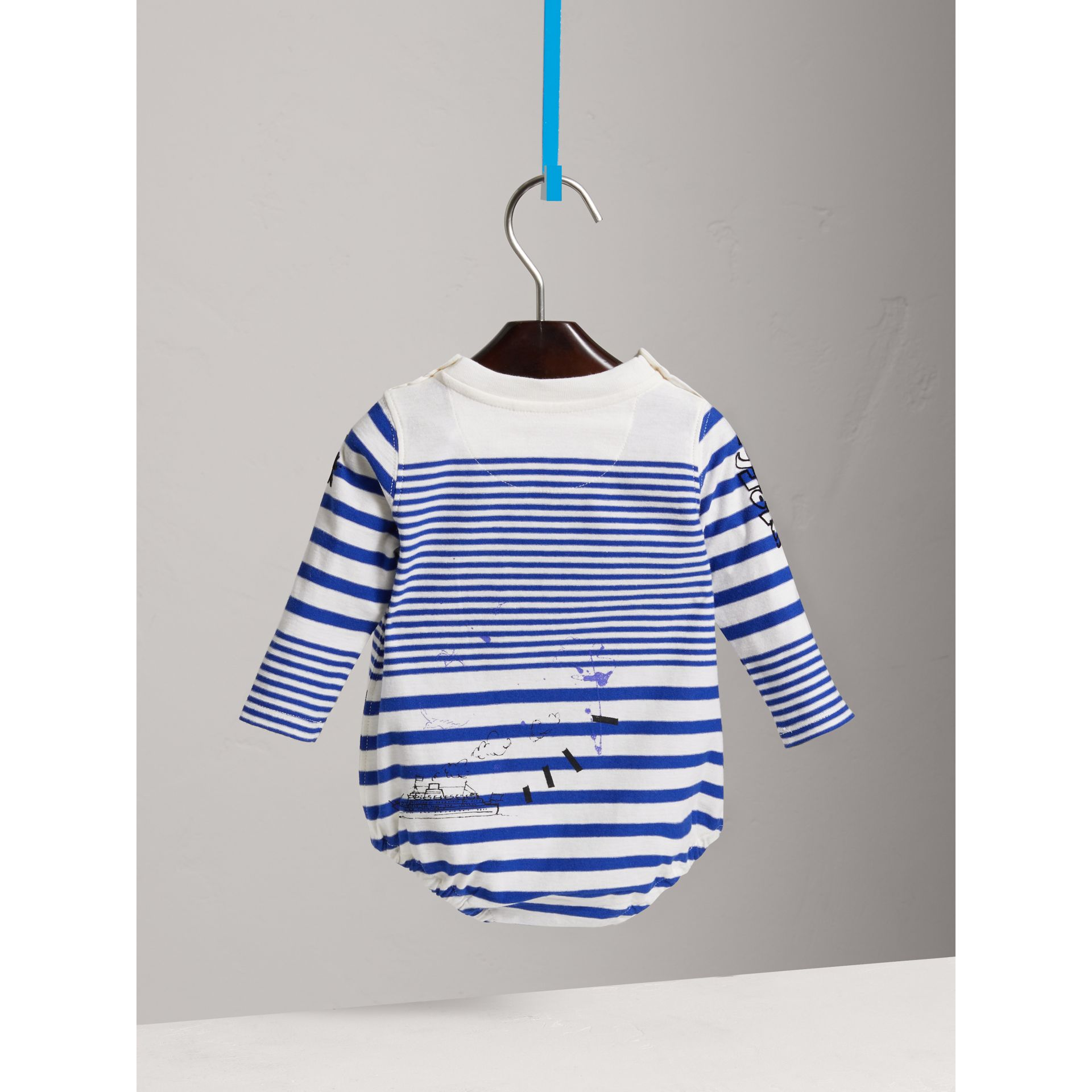 SW1 Print Striped Cotton Jersey Bodysuit in Bright Lapis/natural White - Children | Burberry Australia - gallery image 3