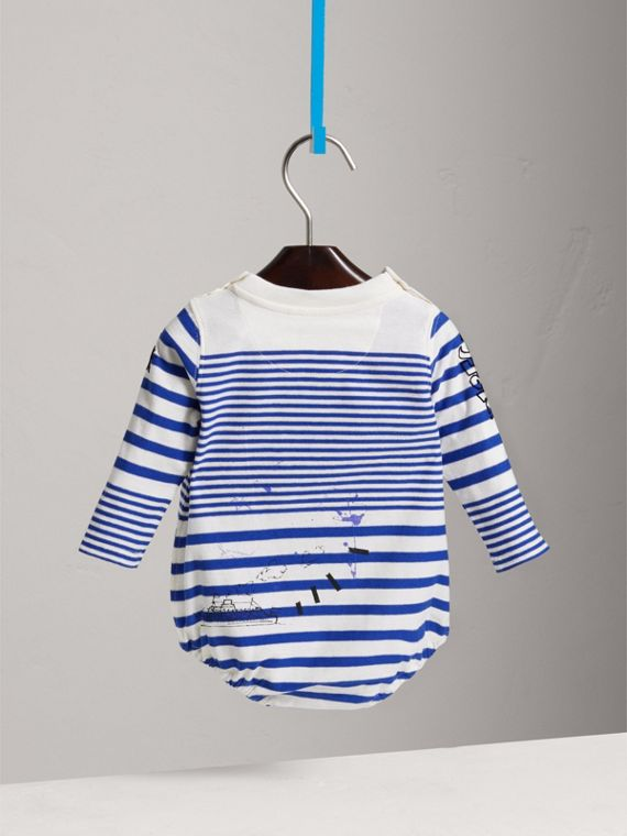 SW1 Print Striped Cotton Jersey Bodysuit in Bright Lapis/natural White | Burberry - cell image 3