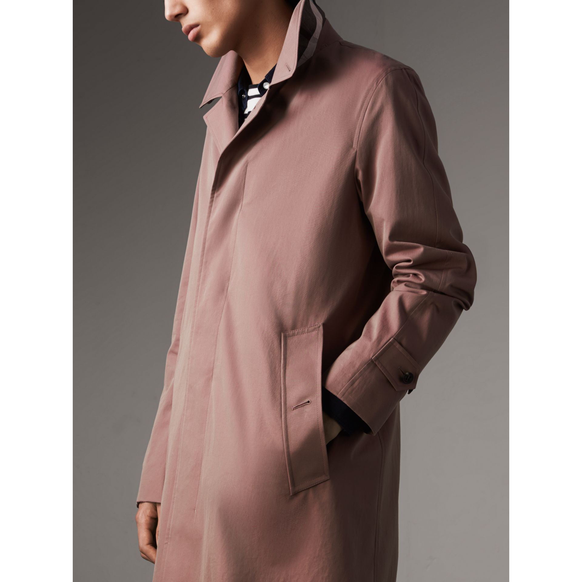 Tropical Gabardine Car Coat in Antique Rose - Men | Burberry - gallery image 5