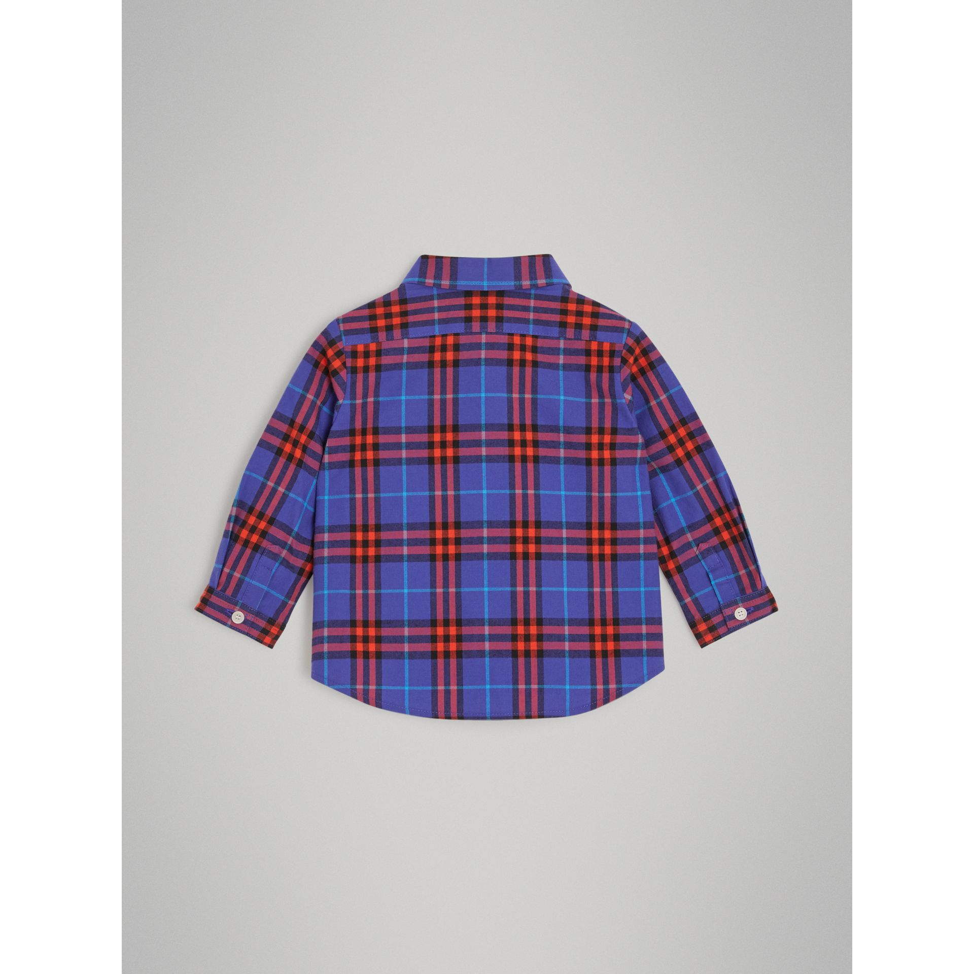 Button-down Collar Check Cotton Shirt in Sapphire Blue - Children | Burberry - gallery image 3