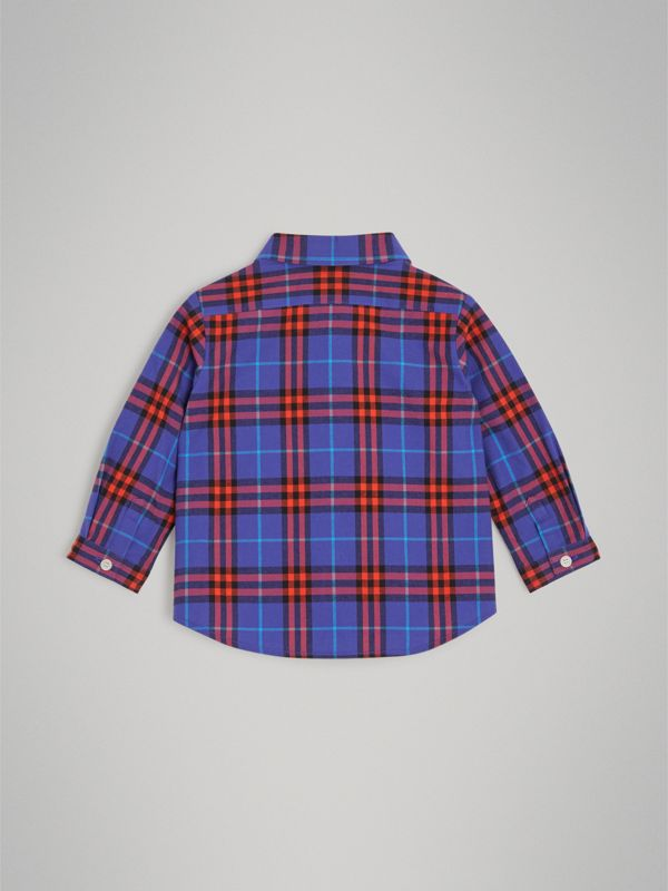 Button-down Collar Check Cotton Shirt in Sapphire Blue - Children | Burberry - cell image 3