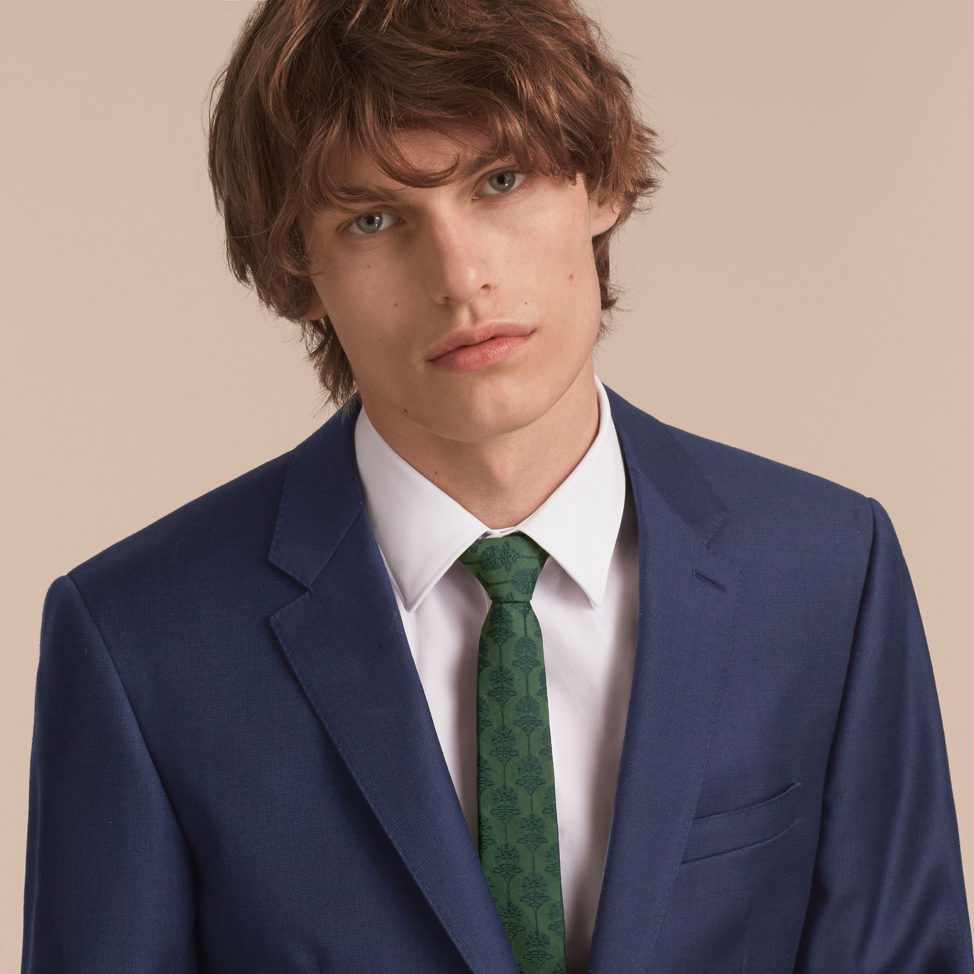 Slim Cut Floral Jacquard Silk Cotton Tie in Pine Green - Men | Burberry Singapore - gallery image 3