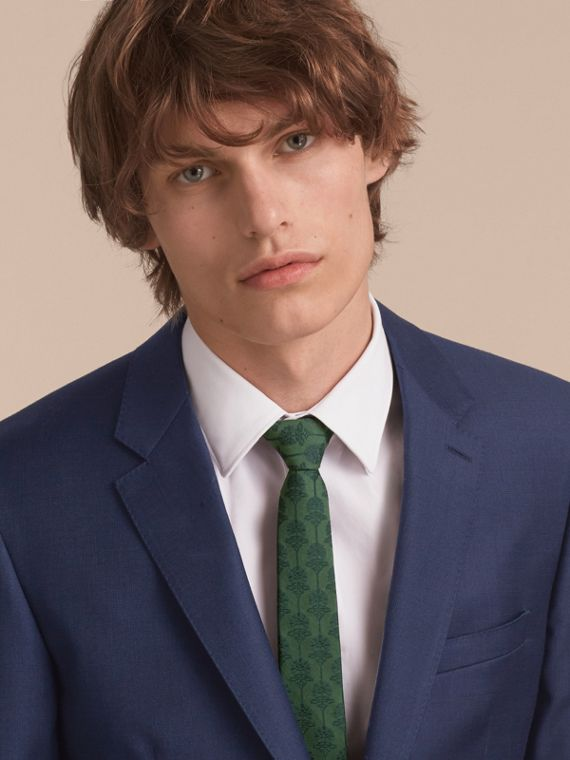 Slim Cut Floral Jacquard Silk Cotton Tie in Pine Green - Men | Burberry - cell image 2