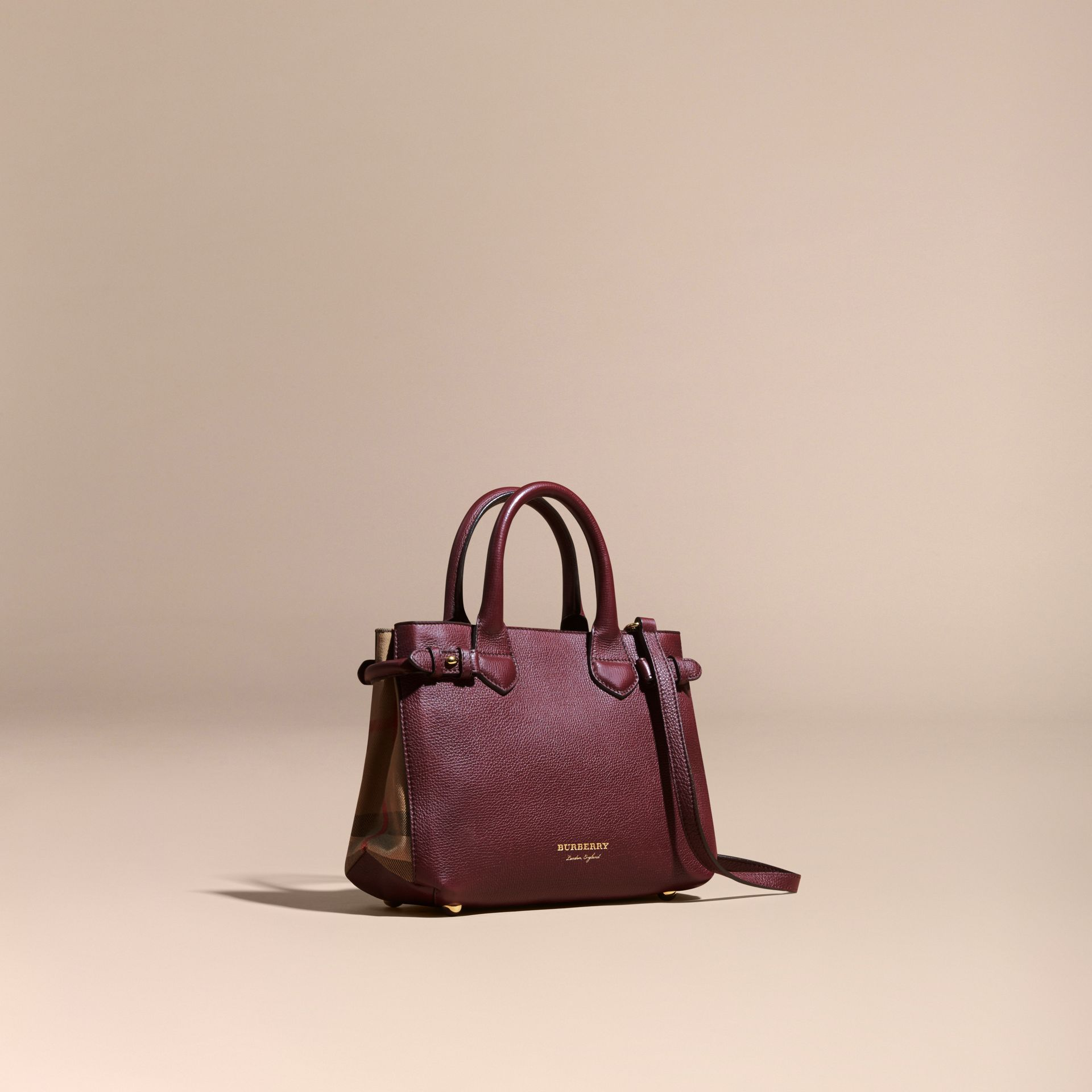 The Small Banner in Leather and House Check in Mahogany Red - Women | Burberry - gallery image 1