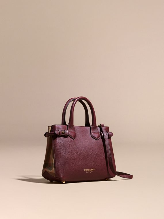 The Small Banner in Leather and House Check in Mahogany Red - Women | Burberry