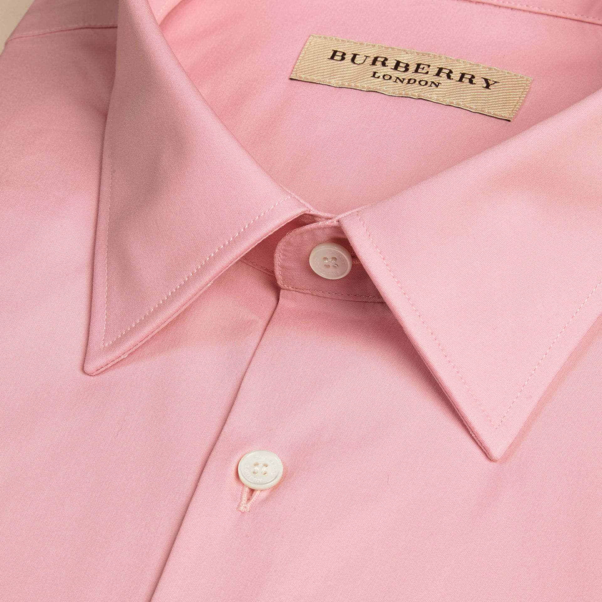 Modern Fit Stretch Cotton Shirt in City Pink - gallery image 2