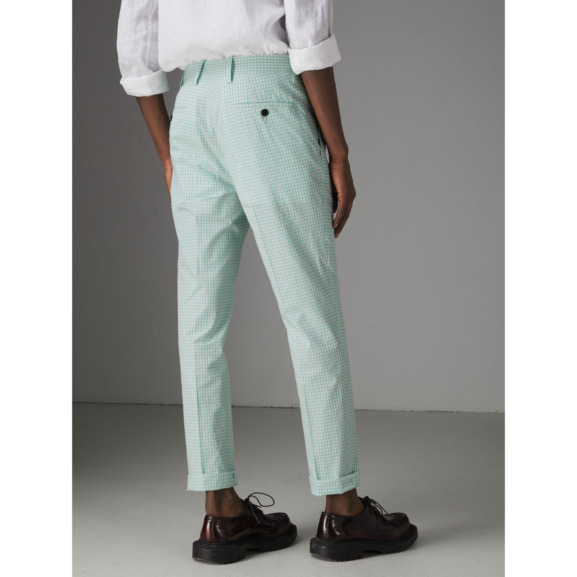 Gingham Cotton Tailored Trousers in Pale Opal - Men | Burberry Singapore - gallery image 2