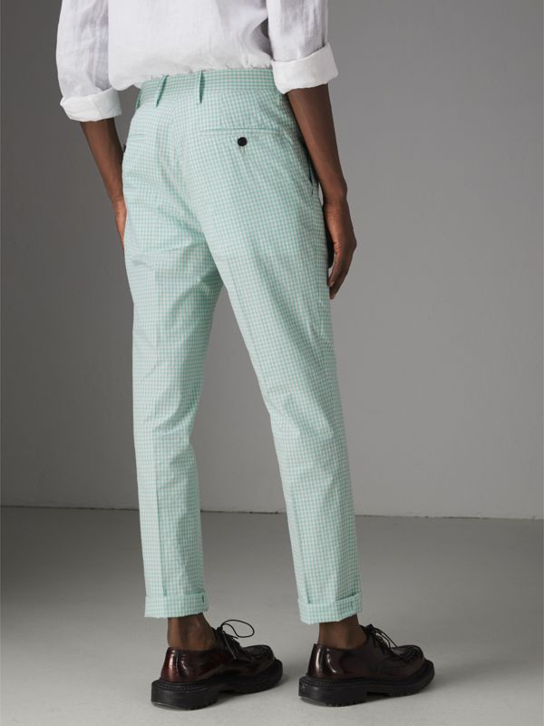 Gingham Cotton Tailored Trousers in Pale Opal - Men | Burberry Singapore - cell image 2