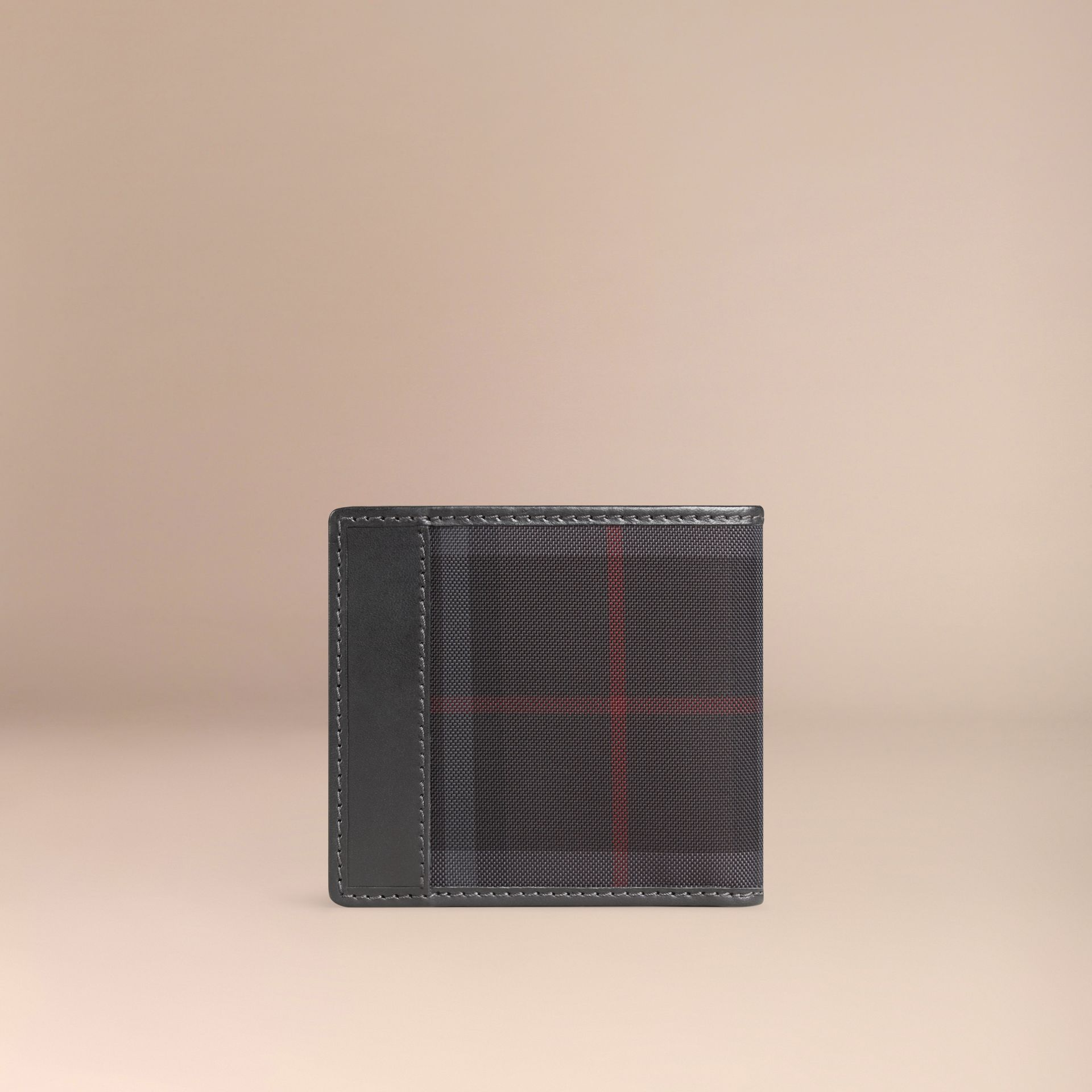 Horseferry Check Folding Coin Wallet Charcoal/black - gallery image 3