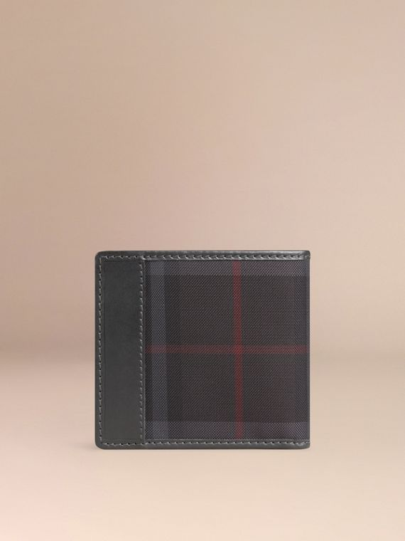 Horseferry Check International Bifold Coin Wallet in Charcoal/black - Men | Burberry Hong Kong - cell image 2