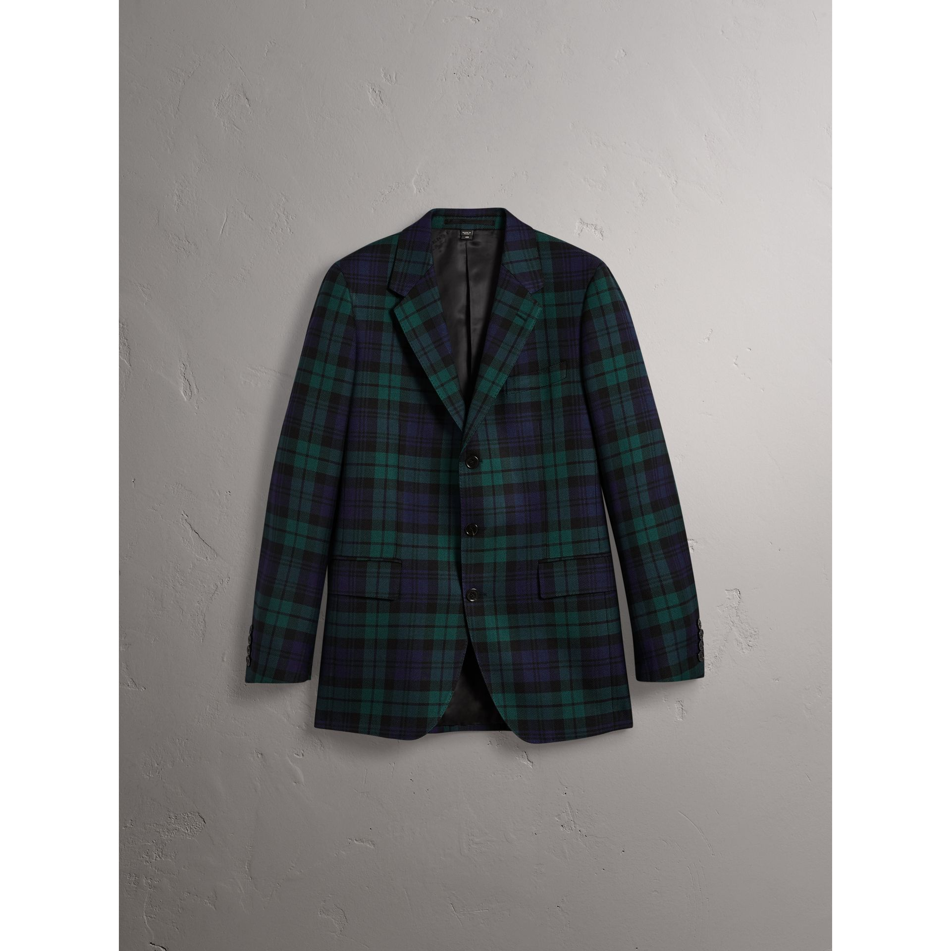 Tartan Wool Tailored Jacket in Bright Navy - Men | Burberry United Kingdom - gallery image 3