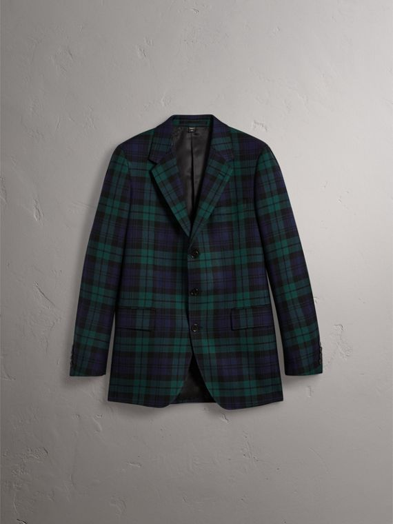 Tartan Wool Tailored Jacket in Bright Navy - Men | Burberry United Kingdom - cell image 3