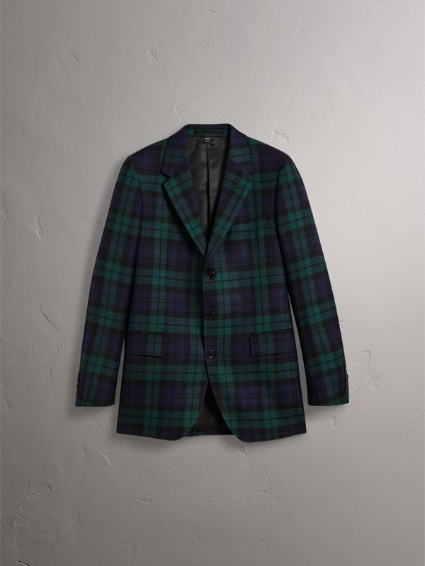 Tartan Wool Tailored Jacket in Bright Navy - Men | Burberry - cell image 3