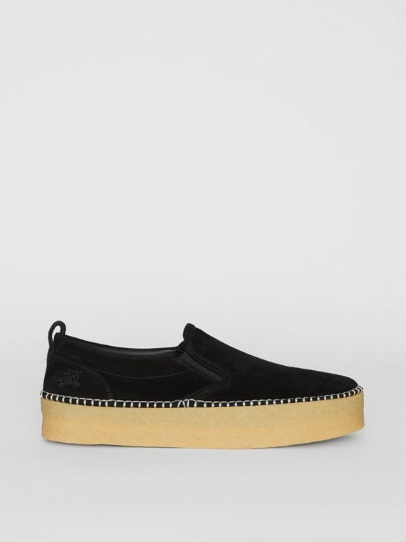 Suede Slip-on Sneakers in Black