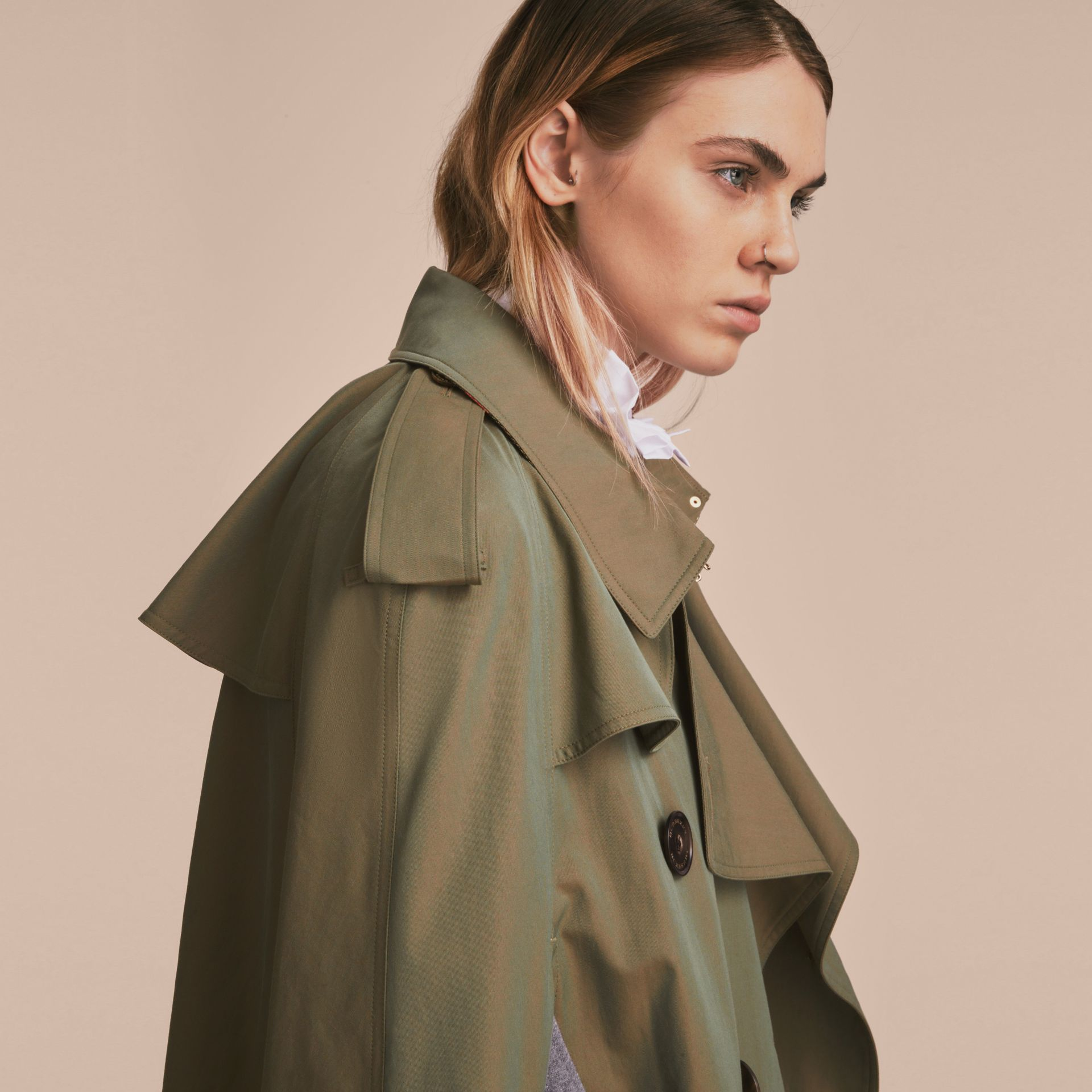 Tropical Gabardine Cape with Check Detail in Bright Olive - Women | Burberry Australia - gallery image 8