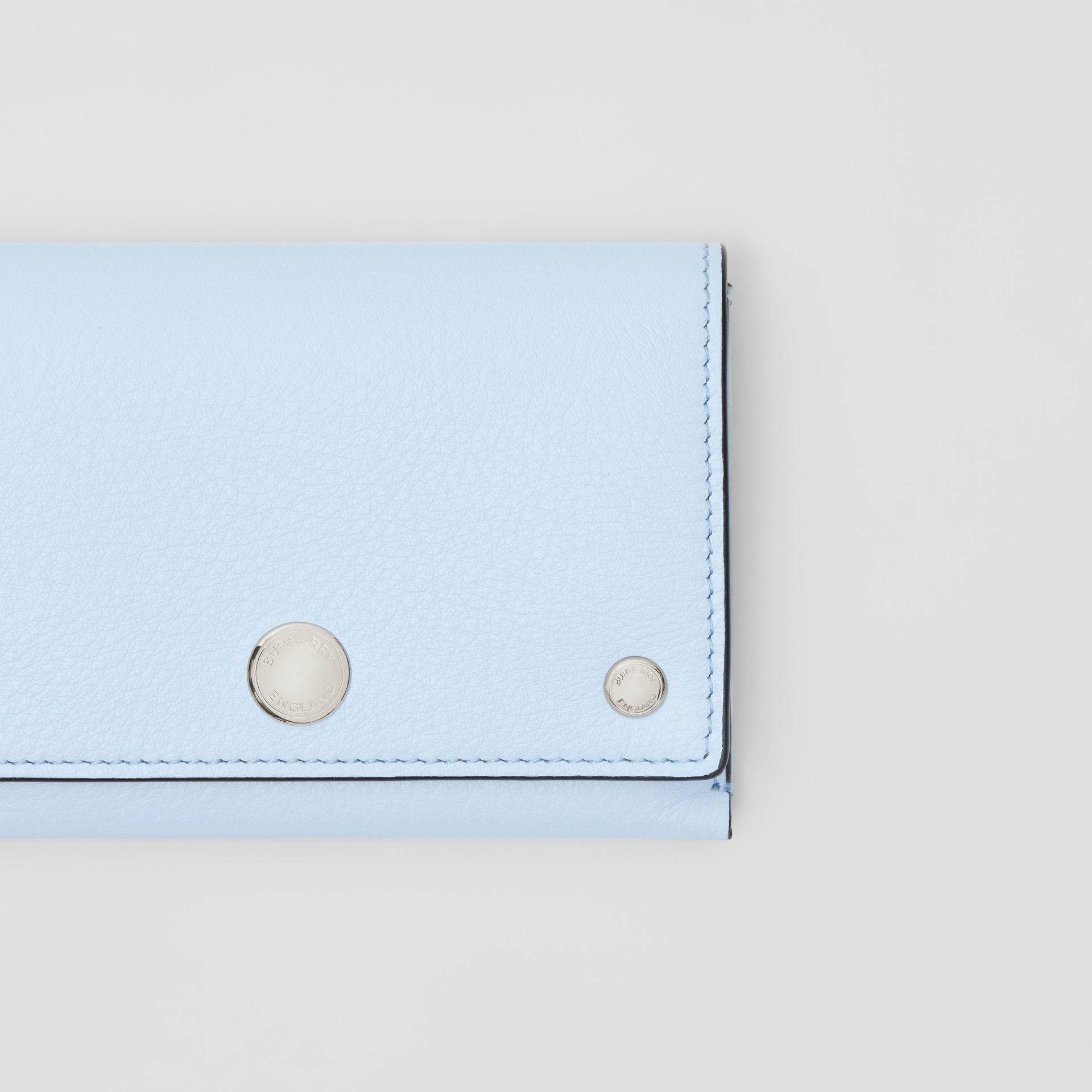 Triple Stud Leather Folding Wallet in Pale Blue - Women | Burberry - gallery image 1