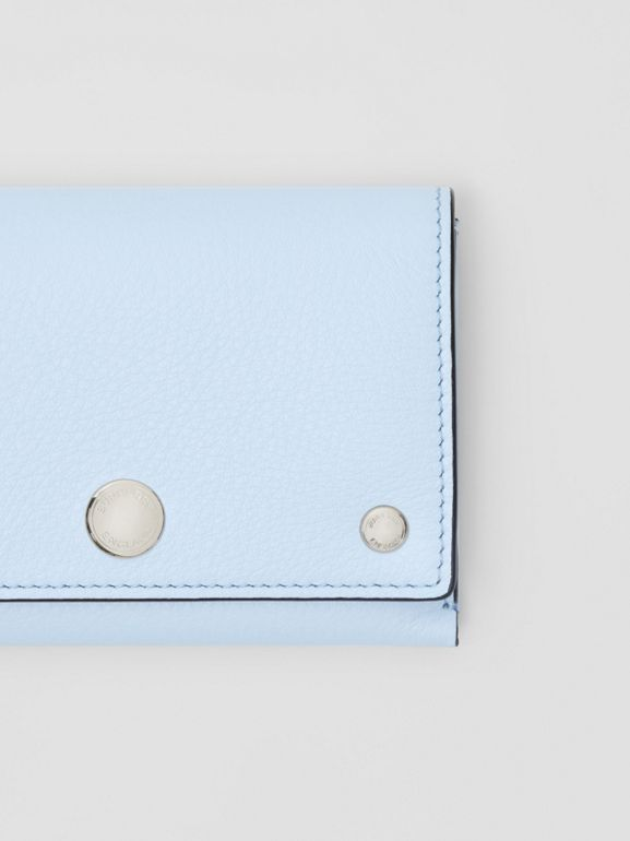 Triple Stud Leather Folding Wallet in Pale Blue - Women | Burberry - cell image 1