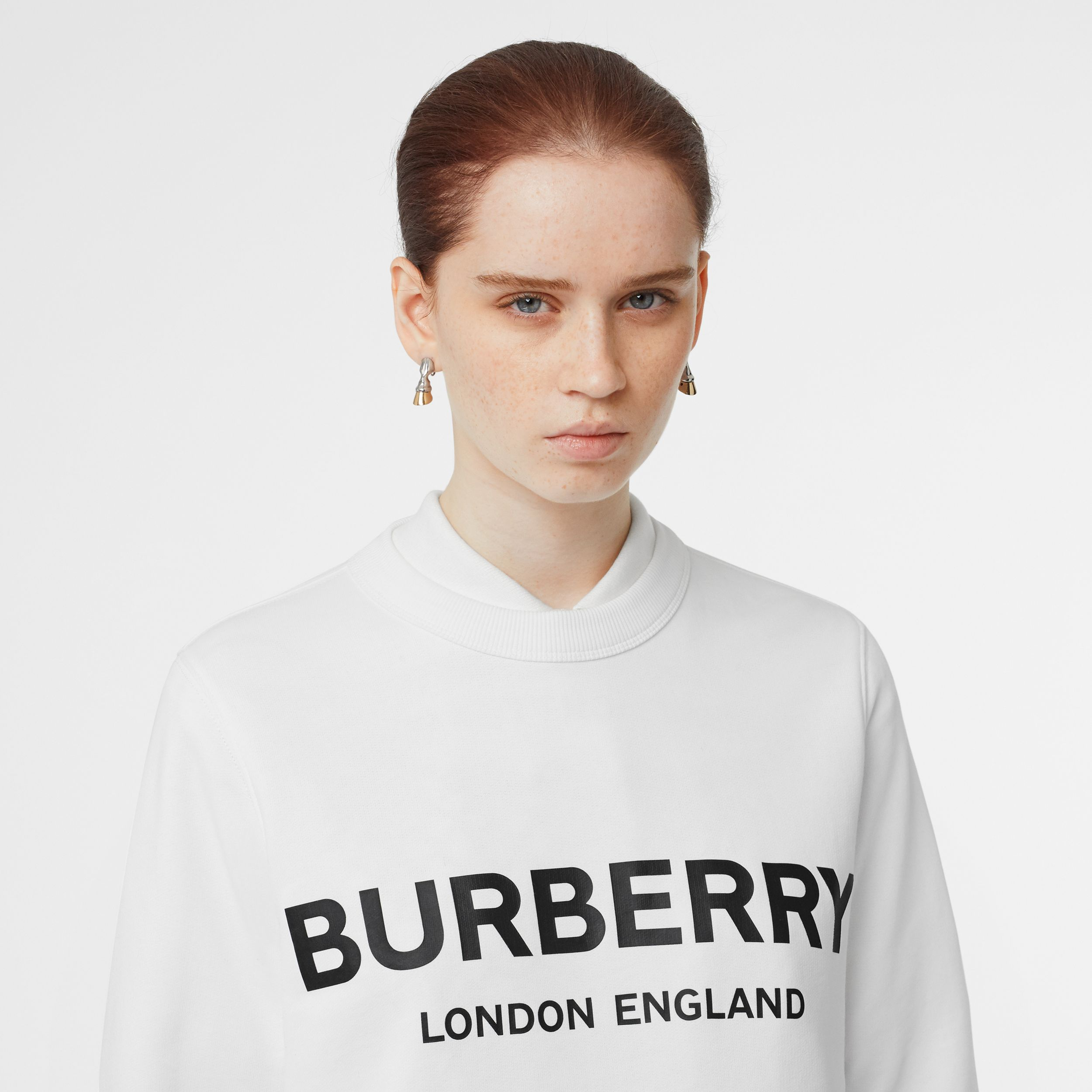 Logo Print Cotton Sweatshirt in White - Women | Burberry - 2