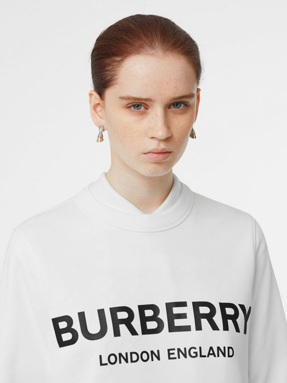 Logo Print Cotton Sweatshirt in White - Women | Burberry United States - cell image 1