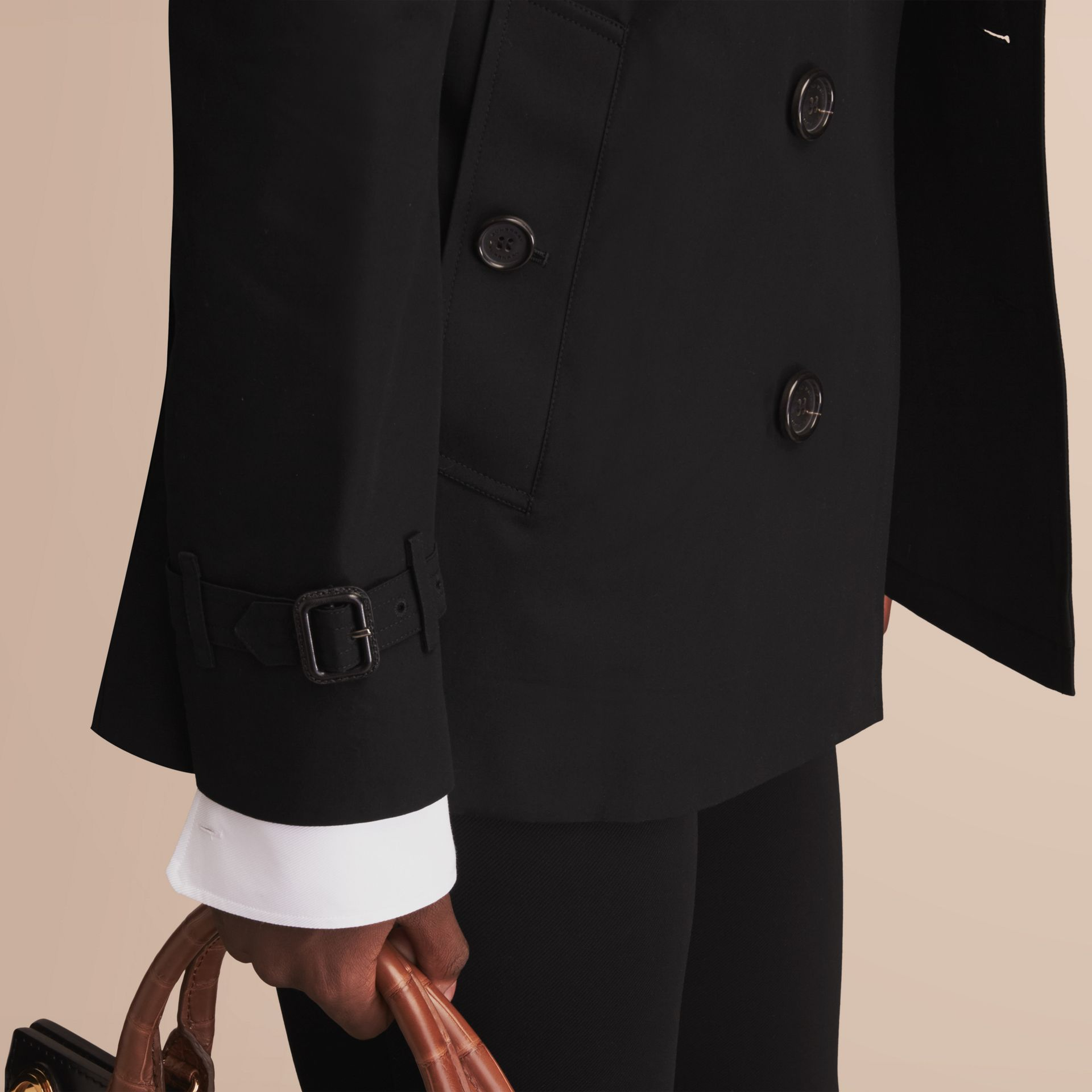 The Sandringham – Short Heritage Trench Coat Black - gallery image 6