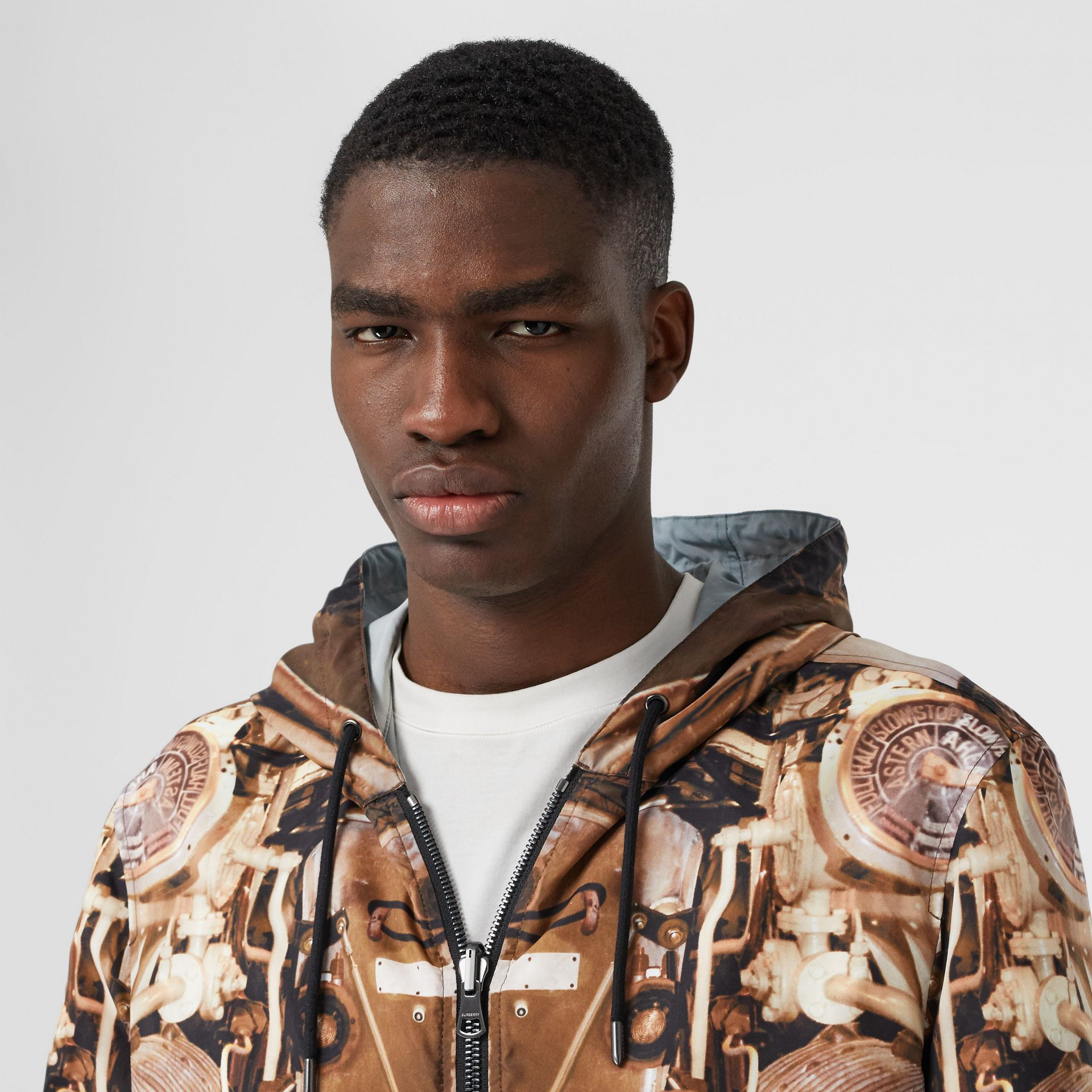 Reversible Submarine Print Nylon Hooded Jacket in Bronze - Men | Burberry - gallery image 7