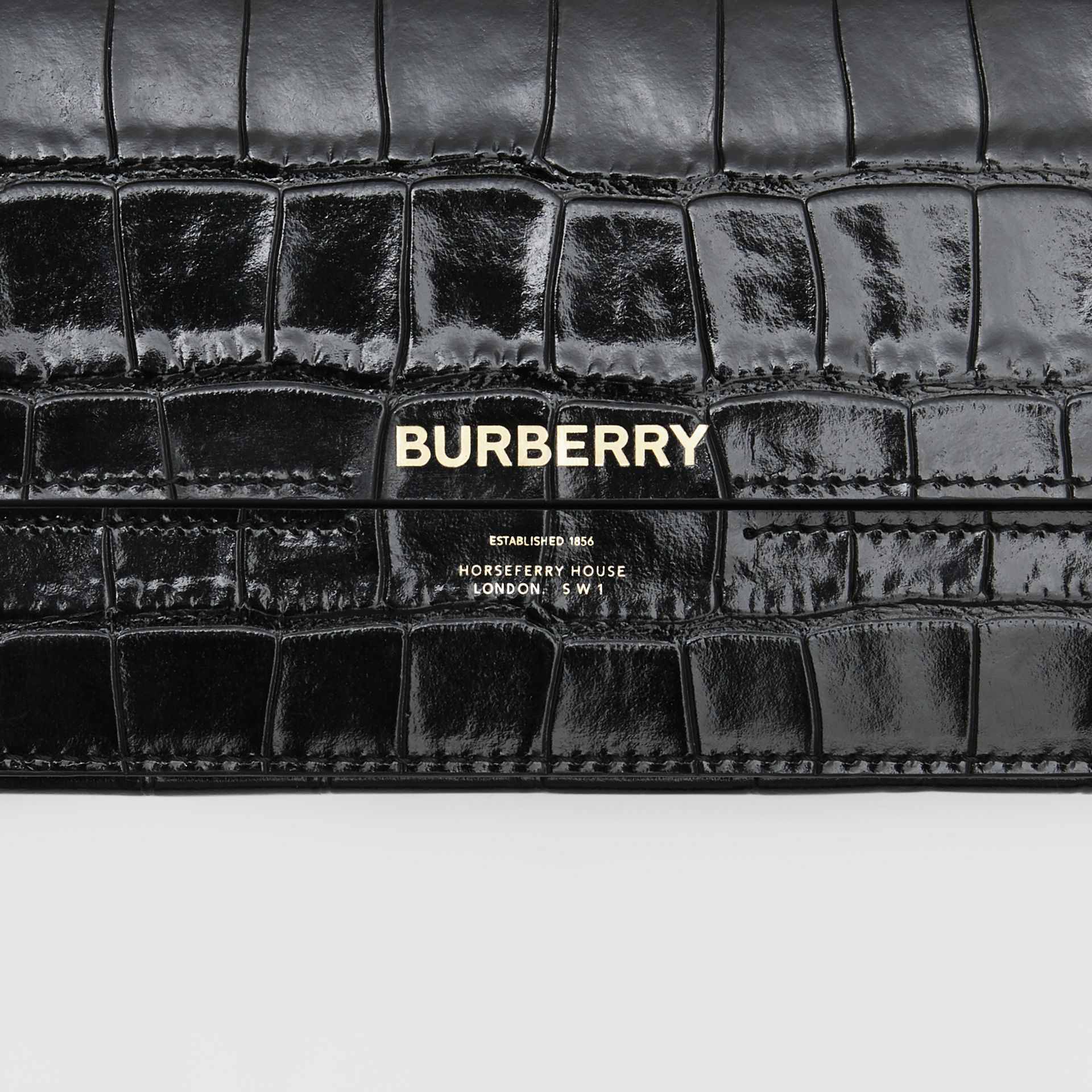 Embossed Leather Wallet with Detachable Chain Strap in Black - Women | Burberry United States - gallery image 1