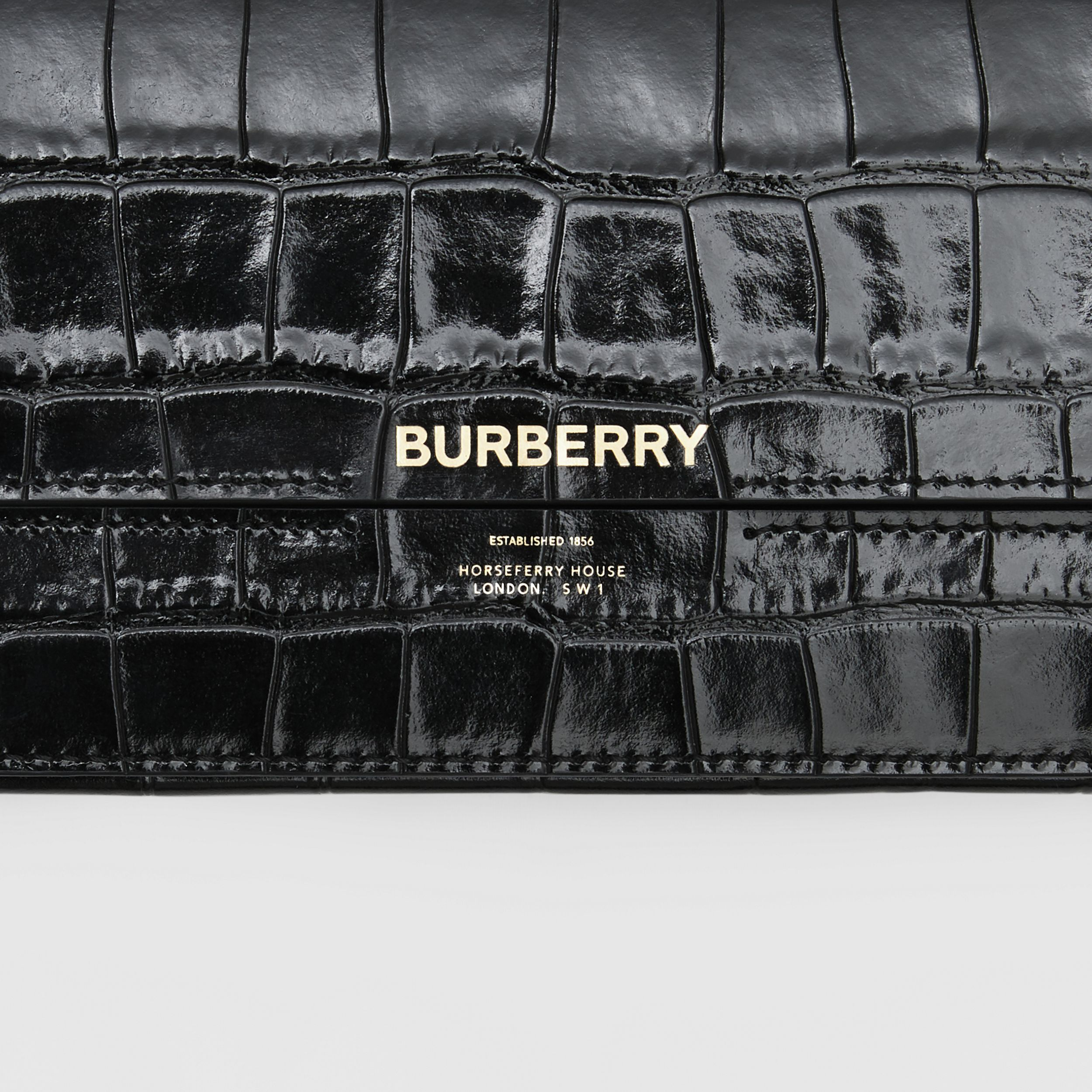 Embossed Leather Wallet with Detachable Chain Strap in Black - Women | Burberry - 2