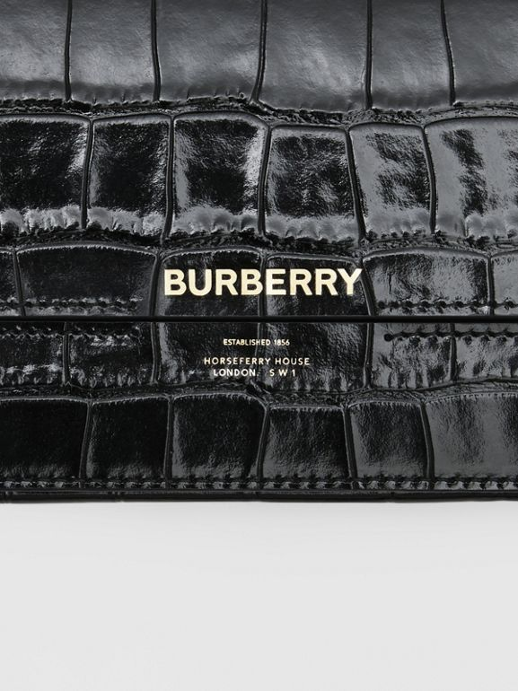 Embossed Leather Wallet with Detachable Chain Strap in Black - Women | Burberry United States - cell image 1