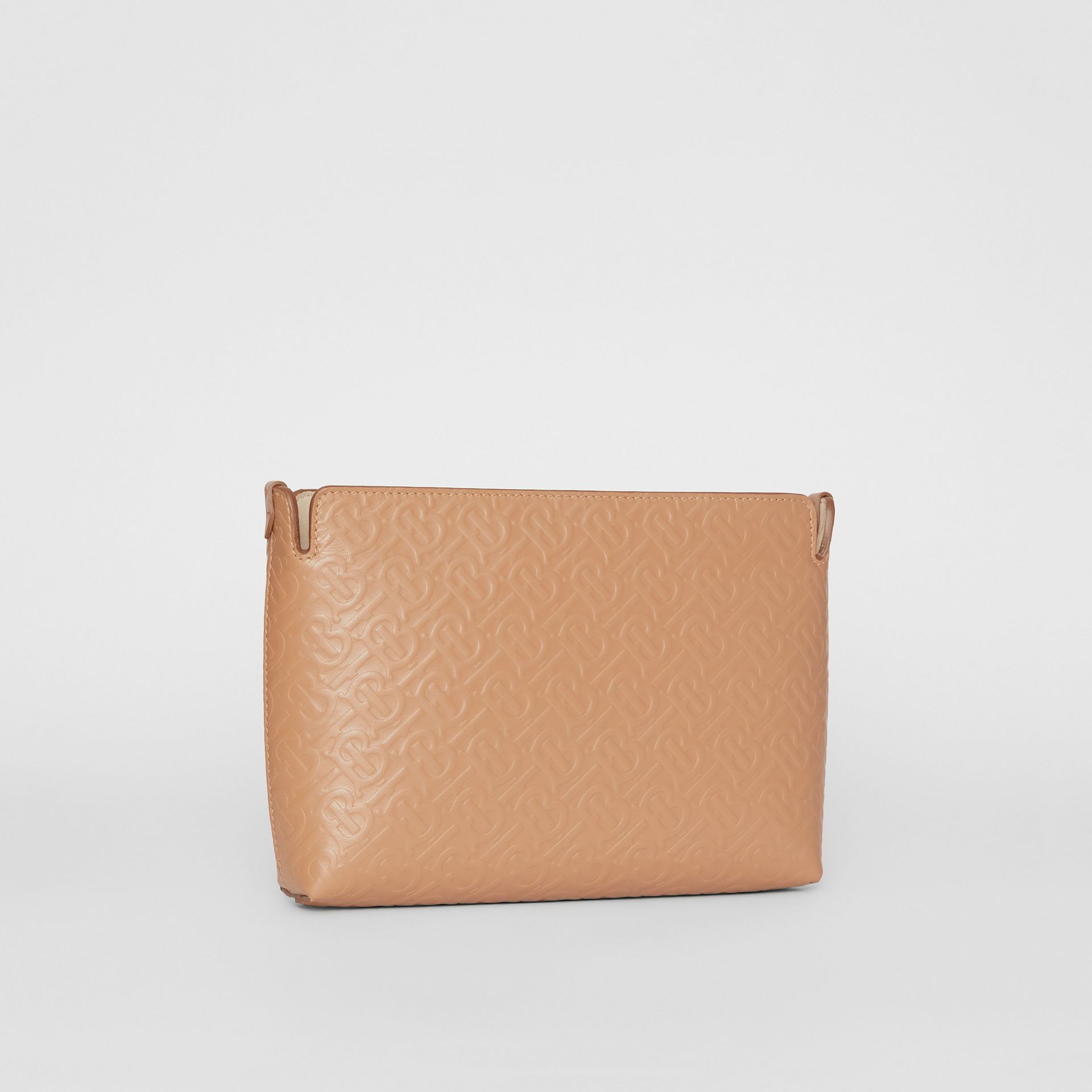 Medium Monogram Leather Clutch in Light Camel - Women | Burberry - gallery image 4