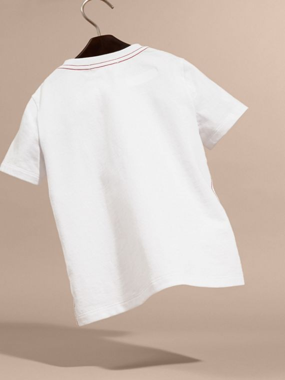 Fresh Sardines Motif Cotton T-shirt in White | Burberry Australia - cell image 3