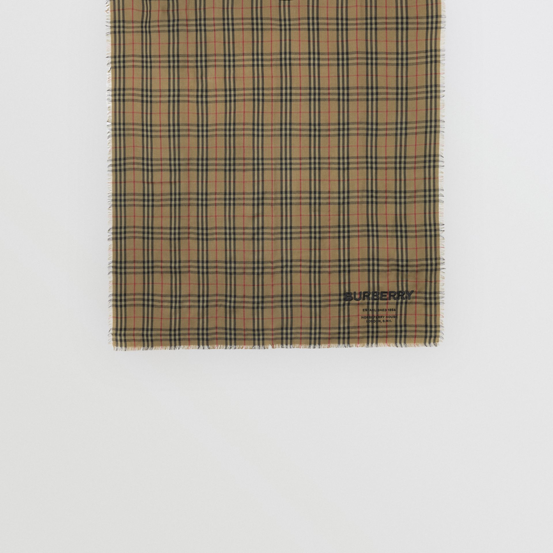 Embroidered Vintage Check Lightweight Cashmere Scarf in Olive Green | Burberry Singapore - gallery image 4
