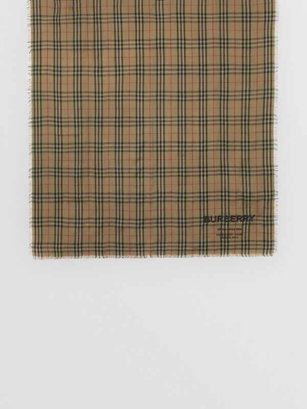 Embroidered Vintage Check Lightweight Cashmere Scarf in Olive Green | Burberry - cell image 2