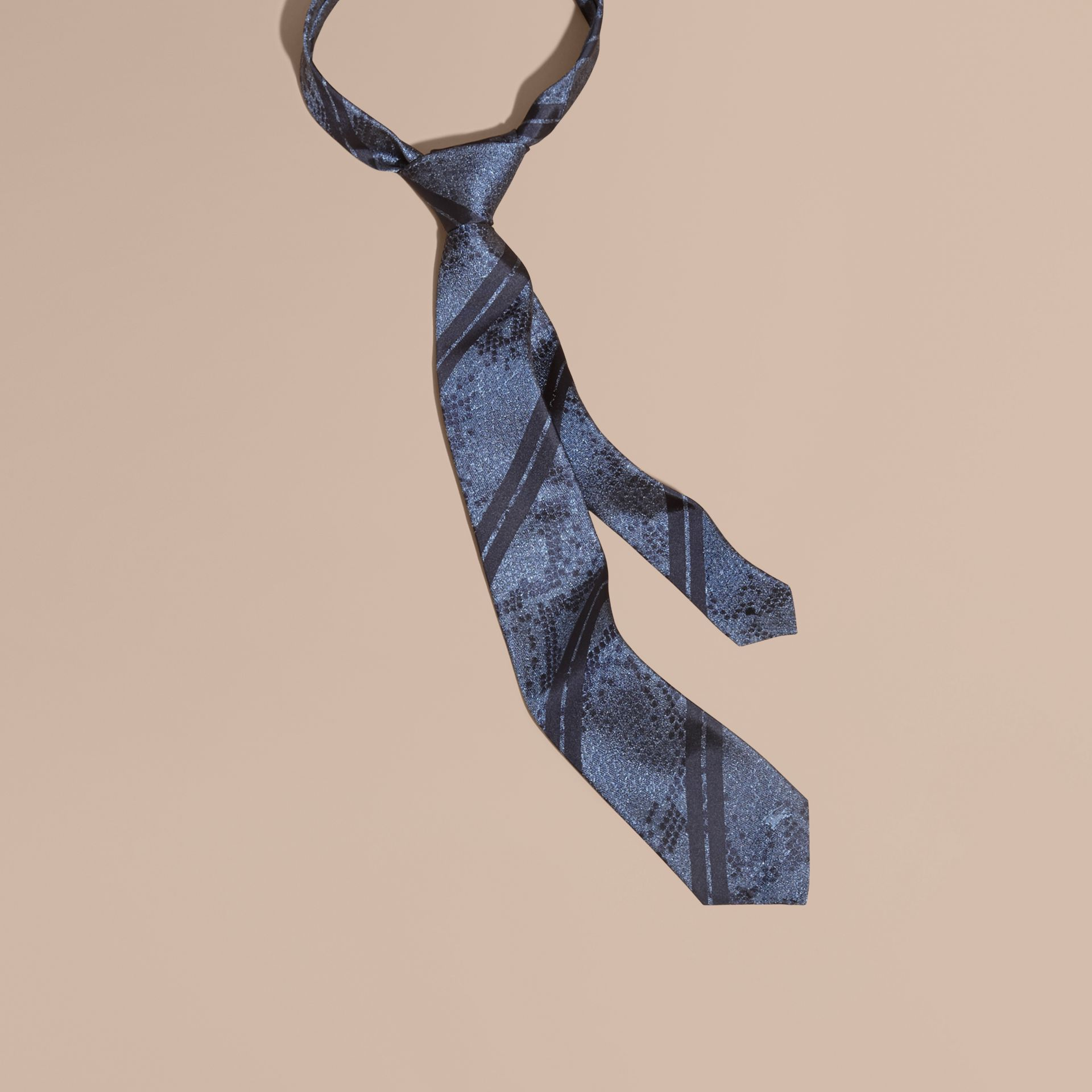 Mineral blue Modern Cut Python Jacquard Silk Tie Mineral Blue - gallery image 1
