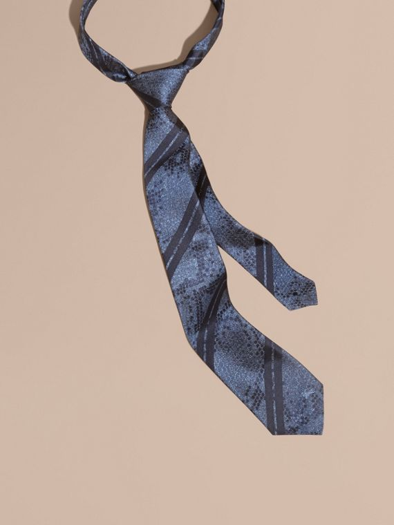 Modern Cut Python Jacquard Silk Tie Mineral Blue