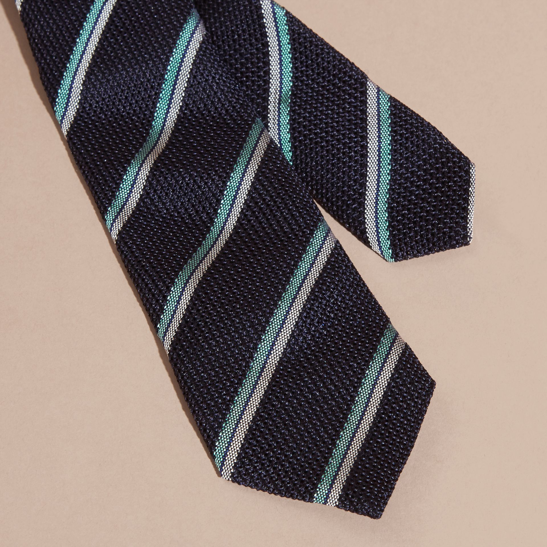 Navy Slim Cut Textured Striped Silk Tie - gallery image 2